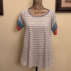 Short-Sleeve Striped Knit Top